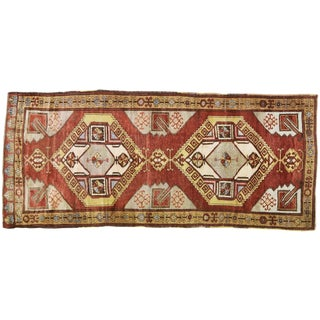 """1940s Traditional Turkish Red and Yellow Oushak Spun Wool Rug - 4'10""""x11'1"""" For Sale"""