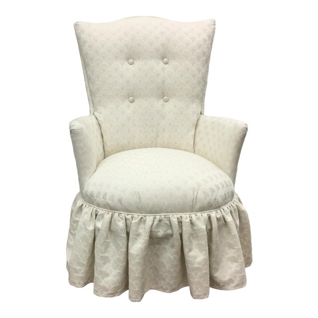 Vintage Skirted Boudoir Slipper Chair in Ivory Damask Upholstery For Sale