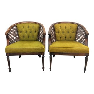 Vintage Tufted Cane Accent Chairs - a Pair For Sale