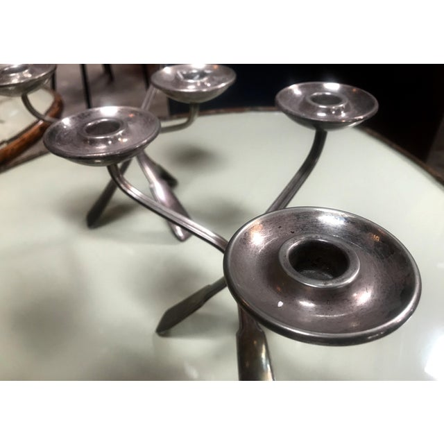 1960s Mid-Century Modern Silverplated Three Arms Candleholders - a Pair For Sale - Image 4 of 10