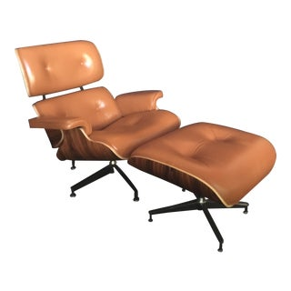 Eames-Style Lounge Chair and Ottoman in Cognac Leather For Sale