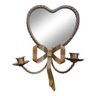 Hollywood Regency Brass Heart Shaped Mirror & Candleholder Sconce For Sale