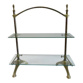Vintage 1920s French Art Deco Maison Jansen Style Brass Standing Display Étagère For Sale