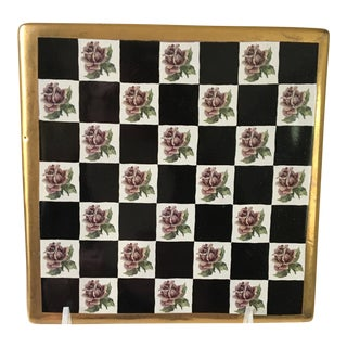 1990s Hollywood Regency MacKenzie-Childs, Ltd. Roses Courtly Check Trivet For Sale