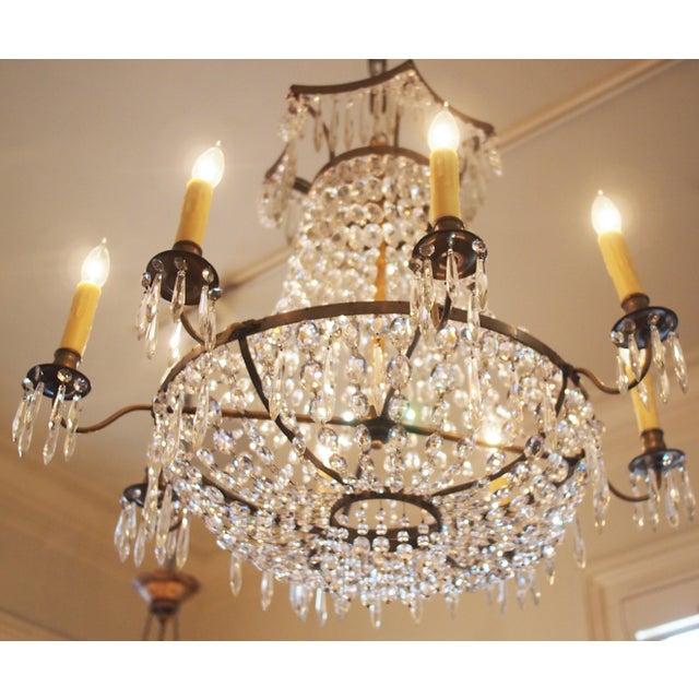 Italian Basket Form Eight Light Crystal Chandelier For Sale - Image 9 of 9