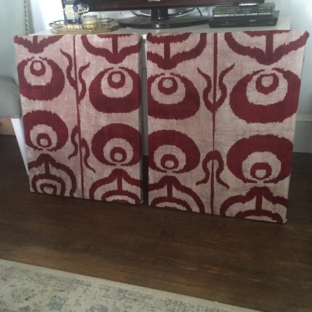 Silk Velvet Ikat Ottoman Fabric Wall Art Hangings - A Pair For Sale - Image 5 of 11