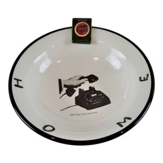 Pop Art Pottery Bowl Signed Piece Black and White Cigarette Telephone For Sale