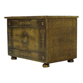 Minted Brass Medium Size Trunk Box Storage For Sale