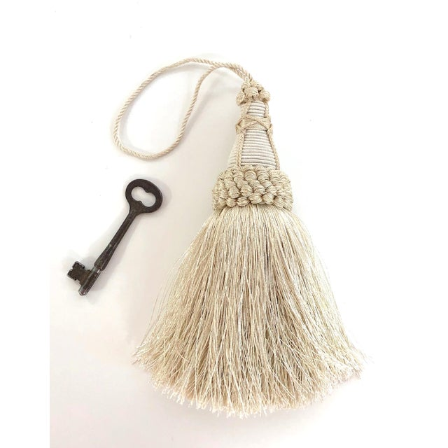 Textile Key Tassel in Cream With Looped Ruche Trim For Sale - Image 7 of 11