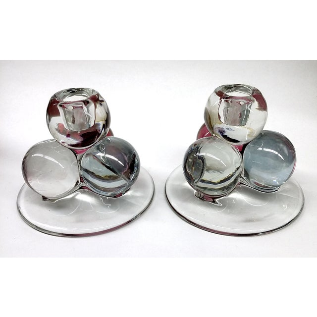 MCM Westmoreland Glass Ball Candle Holders - 2 For Sale - Image 5 of 8