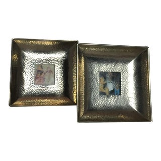 Vintage Silver Hammered Concave Small Picture Frames - a Pair For Sale