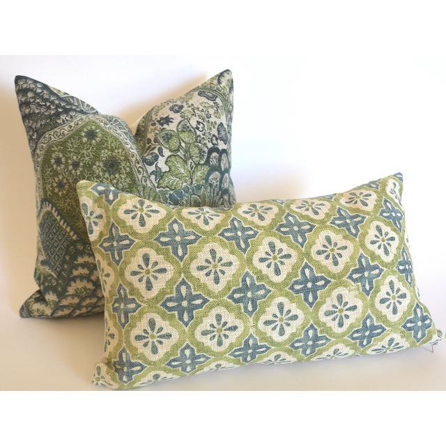 Woven Tapestry Pillow Cover in Green & Blue, plain linen reverse, invisible zipper closure. Pillow insert is not included.