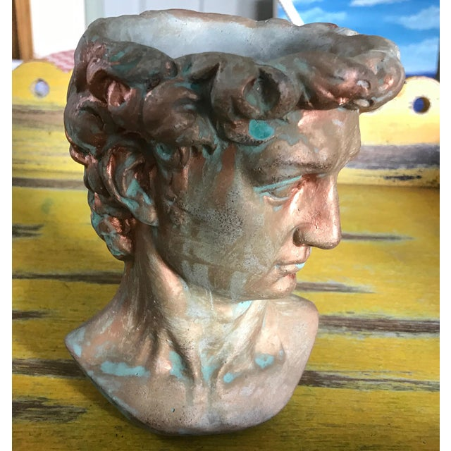 Michelangelo's David Bust Copper Patina Indoor Outdoor Head Planter For Sale In Saint Louis - Image 6 of 8