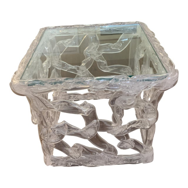 Tony Duquette Acrylic Ribbon End Table For Sale