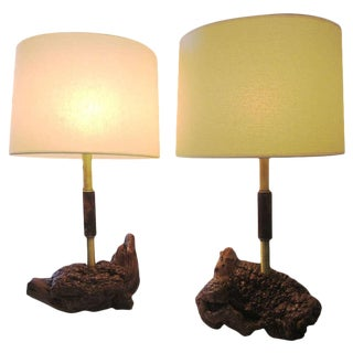 Mid-Century Brass And Burled Wood Lamps, Pair For Sale