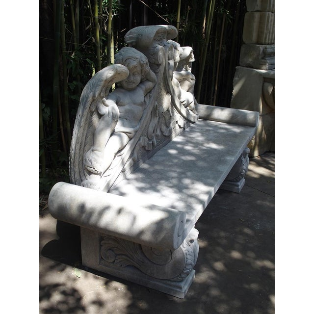 Winged Cherubs Carved Limestone Garden Bench from Italy - Image 11 of 11