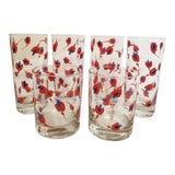 Image of Vintage Georges Briard Mid-Century Modern Red and Blue Flower Cocktail Glasses - Set of 6 For Sale