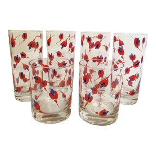 Vintage Georges Briard Mid-Century Modern Red and Blue Flower Cocktail Glasses - Set of 6 For Sale