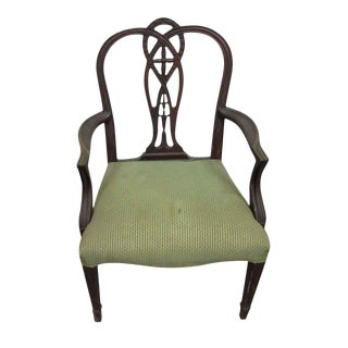 Wood Arm Chair With Green Fabric For Sale