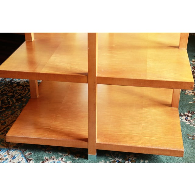 1960s 1960s Baker Classic 3-TierTiger Maple Side Table For Sale - Image 5 of 10