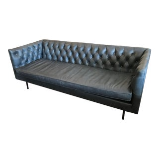 Mid-Century Modern Chesterfield Black Leather Sofa