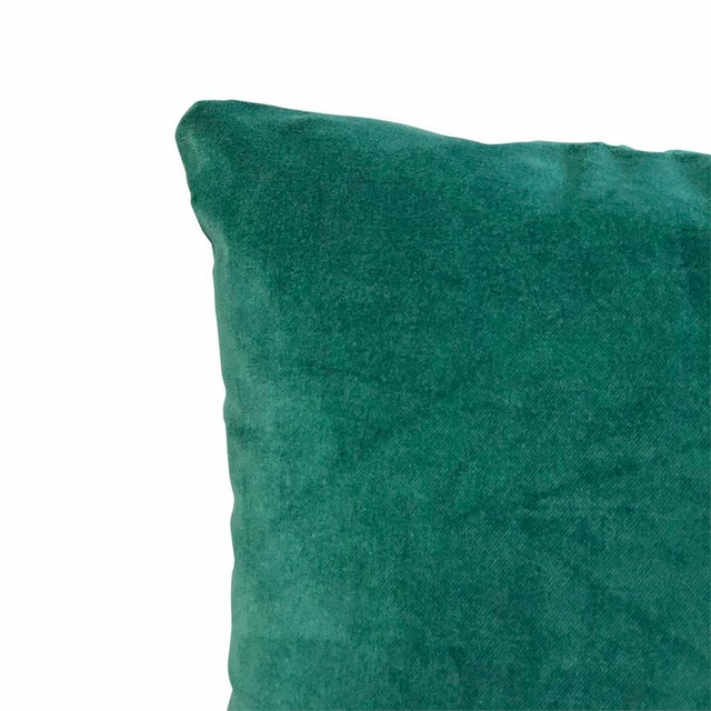 Contemporary Kim Salmela Evergreen Silk Velvet Square Throw Pillows - a Pair For Sale - Image 3 of 4