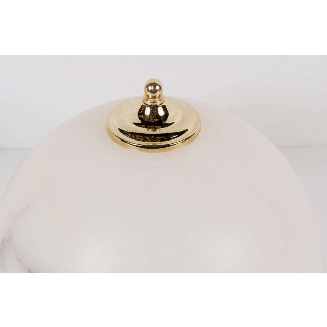 Art Deco Pair of Art Deco Style Alabaster Flush Mounts with Brass Fittings For Sale - Image 3 of 7