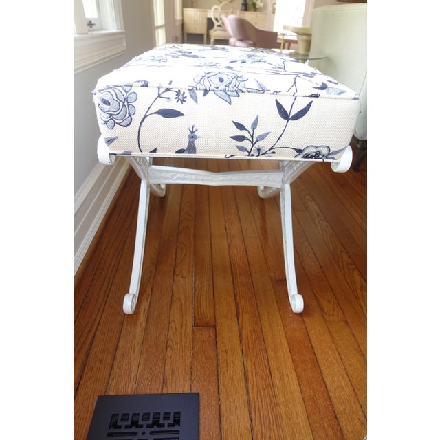Crewel Upholstered Blue and White Cast Iron X Base Bench For Sale - Image 4 of 7