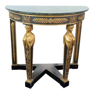 French Empire Style Marble-Top Console Table For Sale