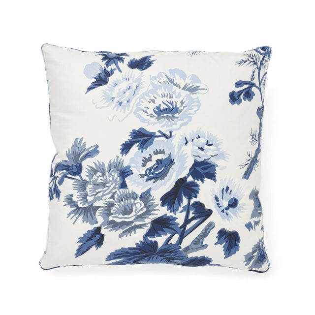 "This 18"" x 18"" pillow features our Pyne Hollyhock print, one of Schumacher's most iconic and sought-after designs. Shown..."