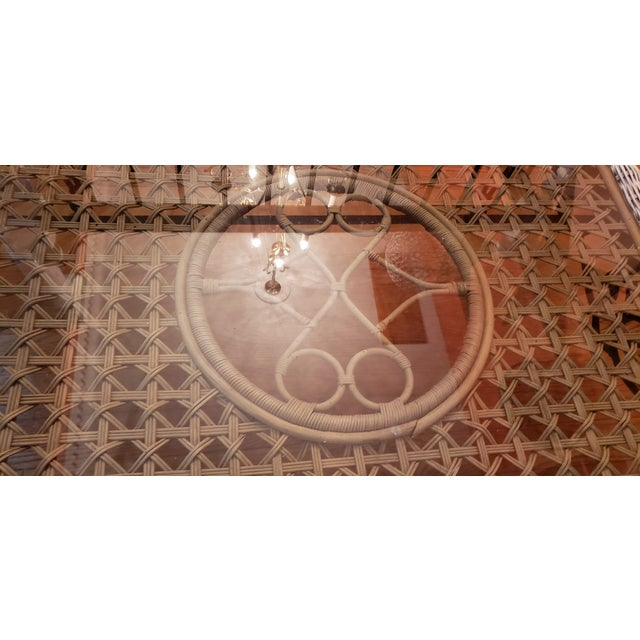 Shabby Chic Wrought Iron Table Set With Wicker Inlays and Smoked Glass Tops - a Pair For Sale In Saint Louis - Image 6 of 13