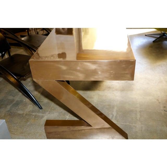 Metal Zee Desk in Bronze by Bridges Over Time Originals For Sale - Image 7 of 13