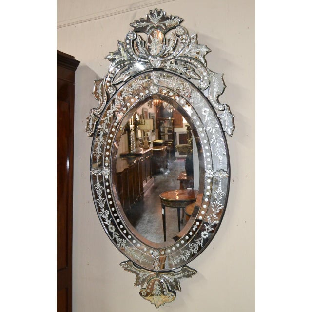 Venetian Etched Glass Wall Mirror, Circa 1940 For Sale - Image 4 of 8