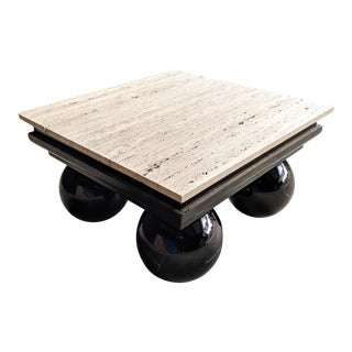 80s Contemporary Postmodern Travertine & Lacquered Coffee Table For Sale