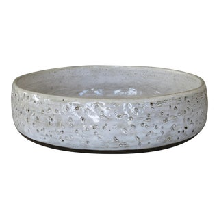 White Glaze Low Ceramic Serving Bowl by Helena Starcevic For Sale