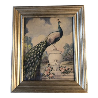 Period Art Deco Original Watercolor Peacock Painting by Ken Broumfield For Sale