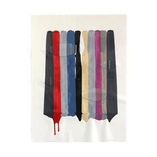 "Colorful Framed Mixed Media Artwork ""Fils I Colors Cccxlix"" Original Painting by Raul De La Torre For Sale"