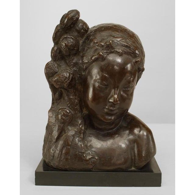 1930s French Art Deco Bronze Bust of a Nymph For Sale - Image 5 of 5