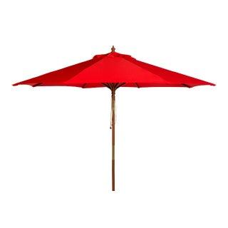 9 Ft Wooden Outdoor Umbrella in Red