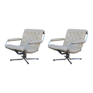 Cream Tufted Leather and Chrome 1970s Swivel Chairs - a Pair