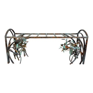 Signed L V Jones Verdigris & Copper Mangrove Coffee Table or Two Seat Bench, Florida 1990s For Sale