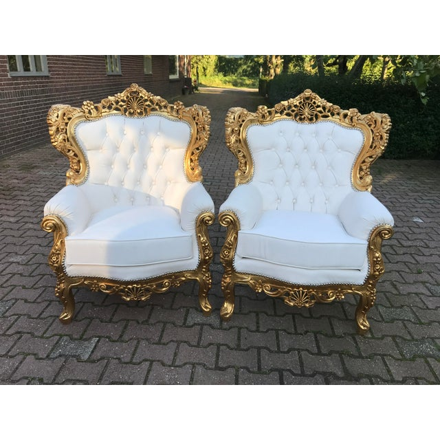 A wonderful Italian Rococo 3pcs living room set. Original pieces from 1940. Recently re-upholstered in white leather,...