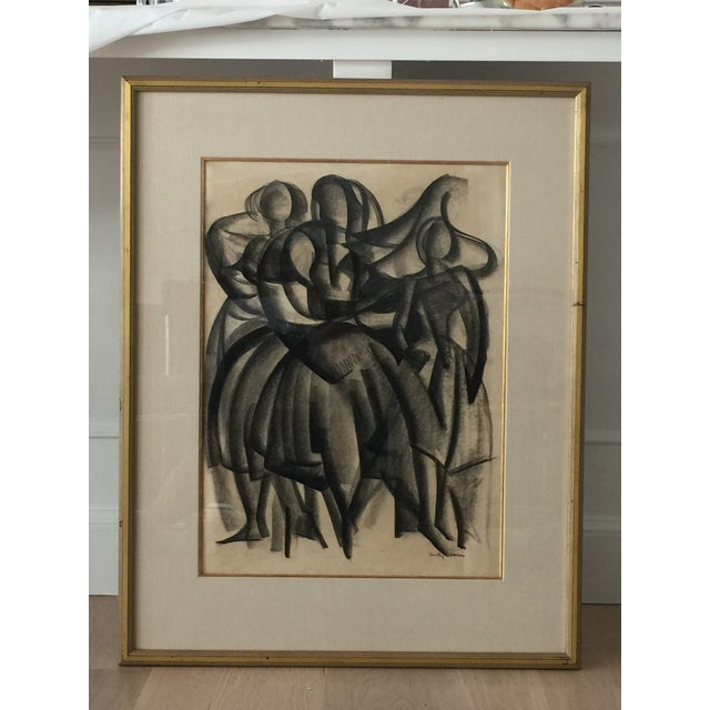 Framed Cubist Charcoal Painting - Image 3 of 6