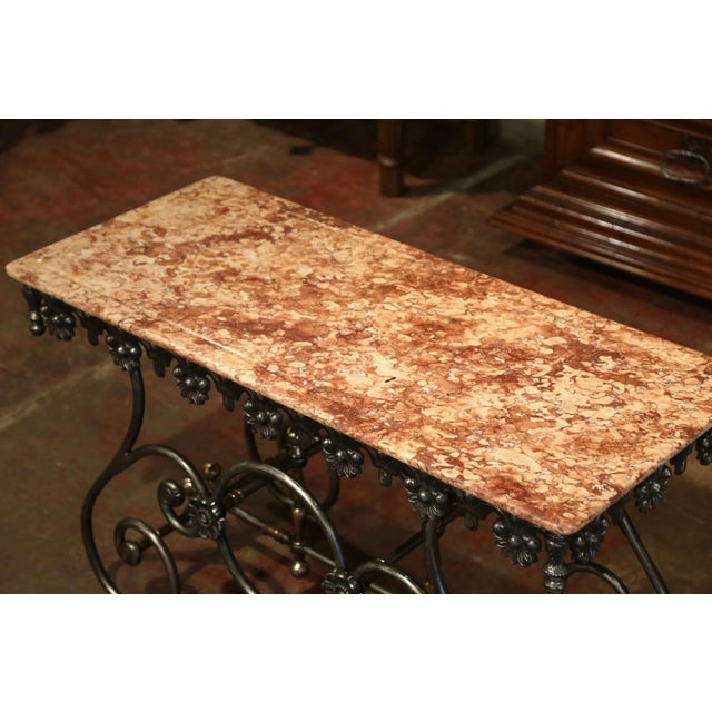 Late 20th Century French Polished Iron Pastry Table With Red Marble Top For Sale - Image 4 of 11