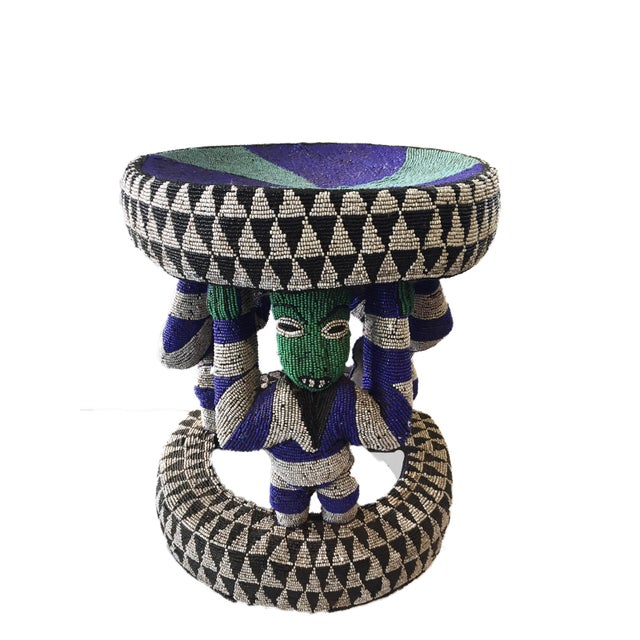 Superb Original and unique hand made wood covered with colorful trade glass bead Stool /Table by the Bamileke people...