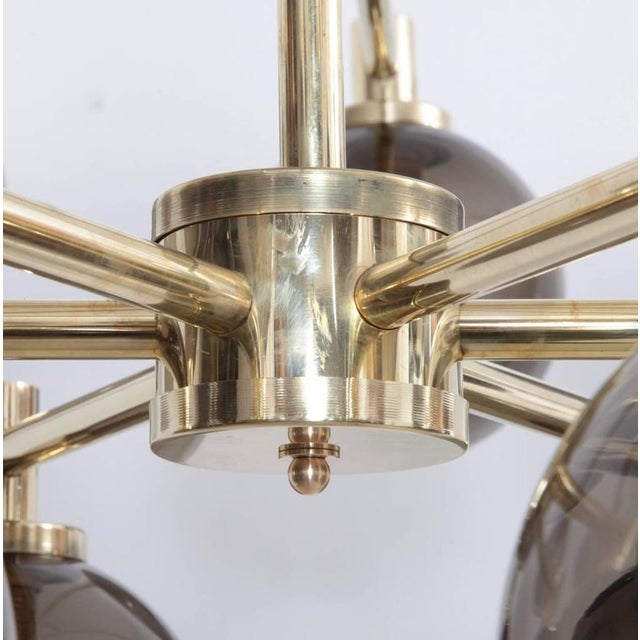 Mid-Century Modern 1 of 2 Huge Tinted Glass and Brass Chandelier Attributed to Hans-Agne Jakobsson For Sale - Image 3 of 8
