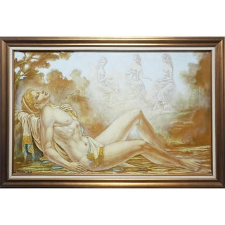 1929 Miorthe Nude Nymphs Oil Painting For Sale
