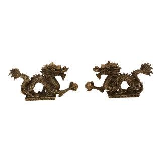 Vintage Brass Good Luck Dragons - A Pair