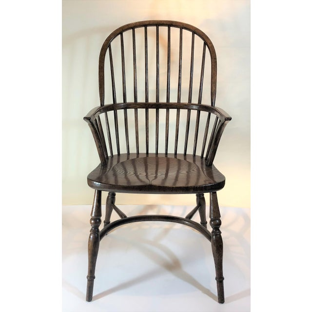 English Traditional Pair English Oak Windsor Armchairs. For Sale - Image 3 of 6