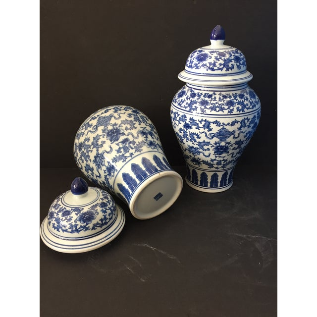 "Blue Porcelain B & W Ginger Jars 14.5"" H For Sale - Image 8 of 9"